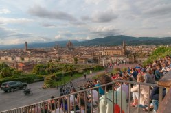 Gathering to watch the sunset at Piazzale Michelangelo