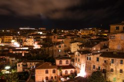 Night shot view from bedroom window towards the Basilica of San Domenico, also known as Basilica Cateriniana