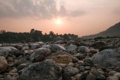Sunset on the rocky beach by the Ganga Ma