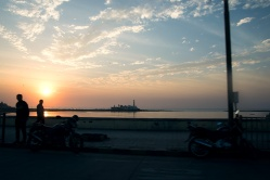 View to the Haji Ali Dargah at sunset